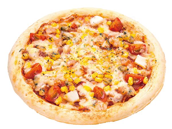 プリプリ魚介の地中海風ピザ